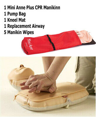 Laerdal Mini Anne Plus CPR First Aid Training Manikin +Accessories, Airway Wipes • 58£