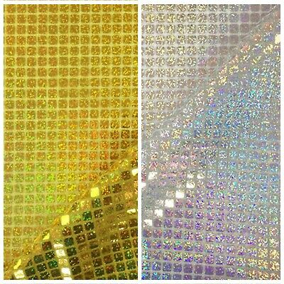 £5.75 • Buy Hologram Square Sequin Fabric Shiny Sparkly Fancy 45  Dress Dance Decoration