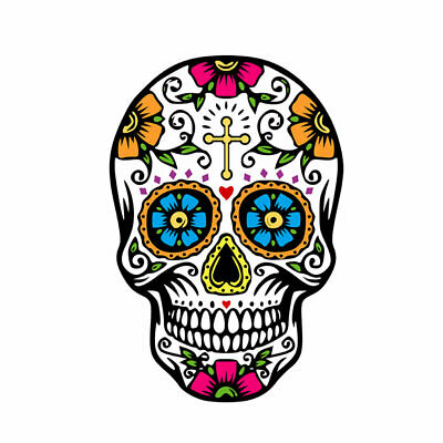 £4.69 • Buy 5 X Suger Skull Iron On Screen Print Transfer For Fabric All Souls Patch Day Of
