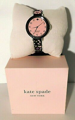 $ CDN78.01 • Buy Kate Spade New York Park Row Watch With Black Floral Silicone Band KSW1614 NWT