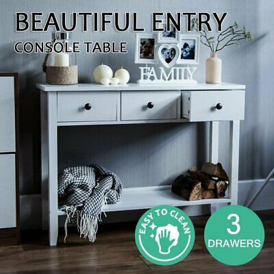 AU105 • Buy Hall Console Table Hallway Side Dressing Entry Wooden French 3 Drawer White