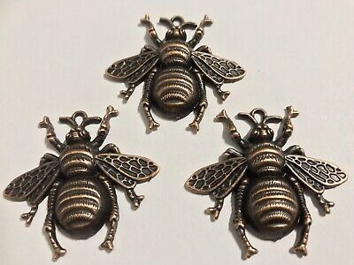 £4.50 • Buy 3 Metal Bumble Bee Charms For Jewellery, Card & Scrapbook Embellishments, Copper