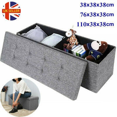 Grey Large Fine Linen Folding Storage Ottoman Pouffe Seat Foot Stool Storage Box • 21.79£