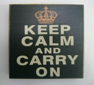 KEEP CALM AND CARRY ON  W Crown Box Sign 5  X 5  Shelf Table Wall Plaque Decor • 2.89£