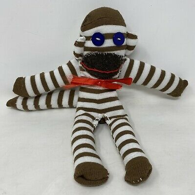 £2.99 • Buy Handmade Sewn Striped Brown Small Sock Monkey Soft Toys Plushies *Loose Stitches