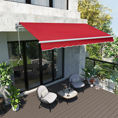$ CDN406.99 • Buy Outsunny 12' X 10' Manual Retractable Awning Patio Sunshade Shelter Wine Red