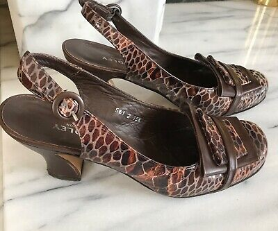 Audley Leather Slingback Shoes 5.5UK Brown Croc Mid Heels Boxed Excellent Con • 30.99£