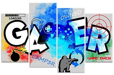 Graffiti Gamer Quote Boys Computer Controller Gaming Canvas Art Print Picture • 36.99£