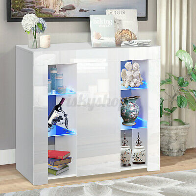 £86.28 • Buy White Gloss Sideboard LED Cupboard Display Cabinet Living Room Furniture TV Unit