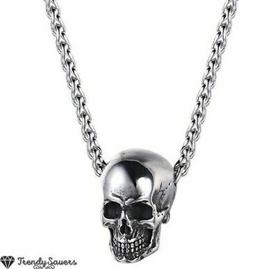 £4.99 • Buy Men Silver Gothic Skull Necklace Stainless Steel Chain Pendant Retro Bikers