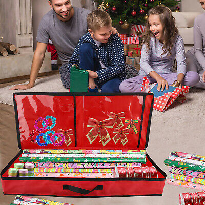 Christmas Wrapping Paper Storage Bag Rolls Ribbon Holder Heavy Duty Tear Proof • 13.89£
