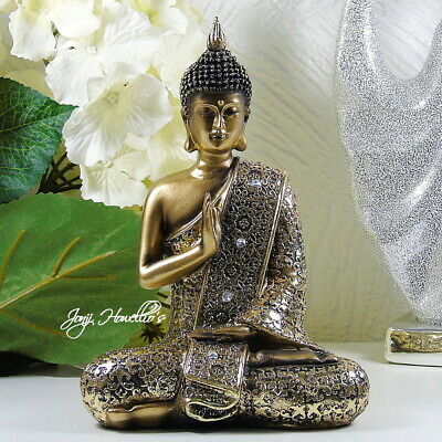 THAI BUDDHA Ornament Gold Statue MEDITATING Figurine Buddhism Zen Home 20 Cm  • 14.90£