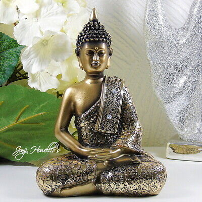 THAI BUDDHA Ornament Statue MEDITATING Figurine Gold Buddhism Zen Home 20 Cm  • 14.90£