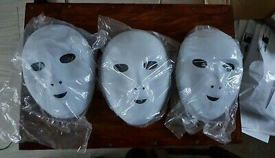 Fancy Dress Face Masks To Paint And Decorate 3 Pack Flock Finish Halloween • 10£