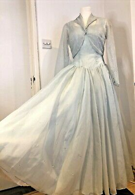 £94.99 • Buy  Vintage 1950s Pale Blue Sequined Ball Gown Dress & Bolero Cinderella