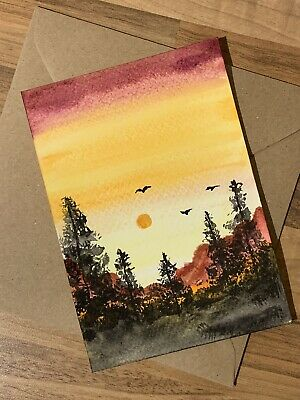 £3.49 • Buy Hand Painted  Water Colour  Handmade Card Sunset