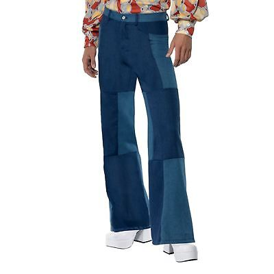 £23.71 • Buy Adult Mens 70s Groovy Hippy Patchwork Flares Flared Trousers Fancy Dress Costume