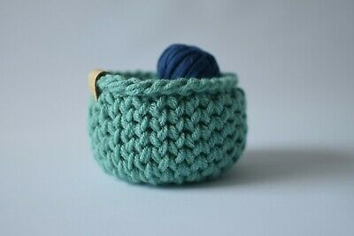 £7 • Buy Handmade Sage Coloured Small Storage Basket Crochet Style Knitted Basket Bowl