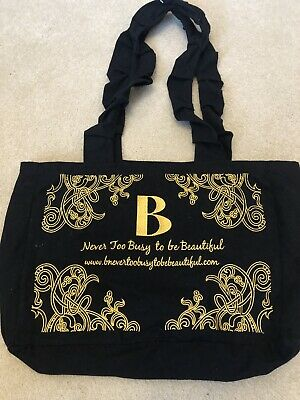 B Never Too Busy To Be Beautiful Black Canvas Bag With Gold Embroidery • 20£