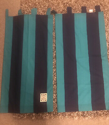 Next Green And Blue Stripe Tab Top Curtains 135 X137cm • 7.99£