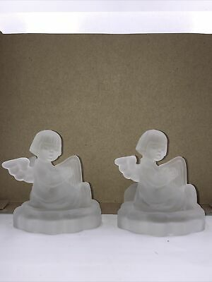 $23.99 • Buy Goebel M.J. Hummel Angel Playing Harp Frosted Glass Candle Holder Set Of Two