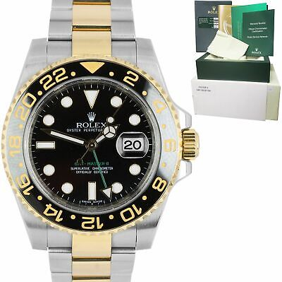 $ CDN16405.24 • Buy MINT Rolex GMT-Master II Ceramic Black Two-Tone Gold 40mm Watch FULL SET 116713