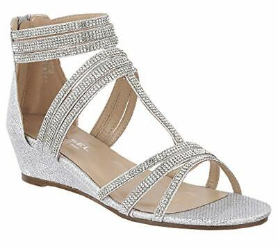New Ladies Silver Diamante Glitter Low Wedge Gladiator Strappy Party Sandals 3-8 • 13.99£