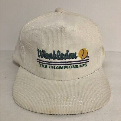 Vintage Wimbledon THE CHAMPIONSHIPS Corduroy Hat Cap Snapback Trucker White • 14.56£
