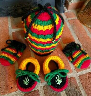 £24.99 • Buy Rasta Baby Hat, Booties And Mittens Set. Leather Soles. Handmade. 3-6 Months