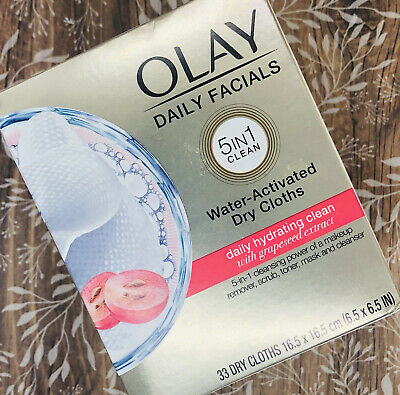 AU17.75 • Buy Olay Daily Facials 5-in-1 Daily Hydrating Clean Grapeseed 33 Dry Cloths