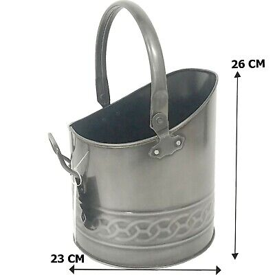 Fireside Galvanised Small Pewter Coal Bucket Pail/Mini/Fireside/Scuttle/Helmet  • 14.99£