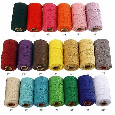 New Rope Twisted Cord Cotton Colorful Twine Macrame Cord String Thread For Party • 5.99£