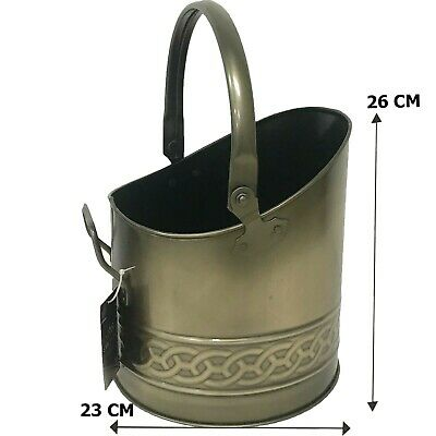 Galvanised Mini Coal Bucket Scuttle/Helmet With Carry Handle Brass Finish 10  • 18.50£