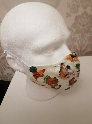 £6.95 • Buy Handmade Chicken Hen  Face Mask Covering - Adult Size Reusable Washable