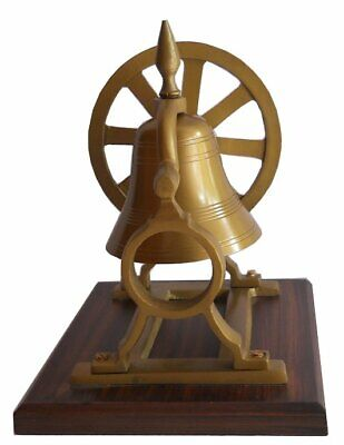 Beautiful Brass Ship's Bell With Mount Pulley Wheel Desk Bell On Wooden Stand • 67.99£