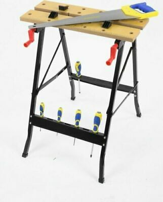 £34.59 • Buy PORTABLE FOLD DOWN WORKBENCH WITH CLAMPING VICE WORKMATE WORK BENCH 56X62X76cm