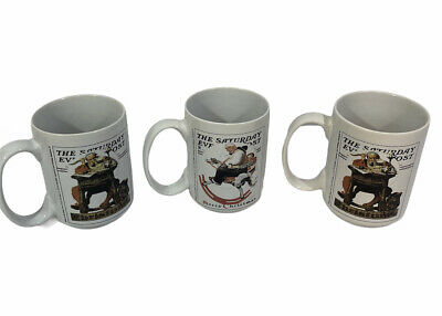 $ CDN25.31 • Buy Vintage Norman Rockwell The Saturday Evening Post Christmas Set Of 3 Coffee Mugs