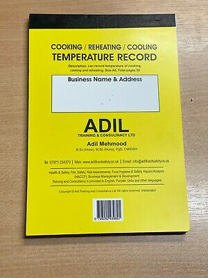 £6.99 • Buy Cooking Reheating Cooling Temperature Record Food Hygiene Catering LOGBOOK HACCP