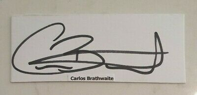AU7.50 • Buy Carlos Brathwaite Cricket Signed In Person  Index Card Ashes West Indies