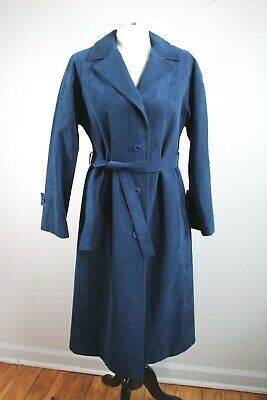 $ CDN89.48 • Buy Vtg Count Romi 40  Bust All Weather Blue SkinnerUltra Suede Belted Over Coat