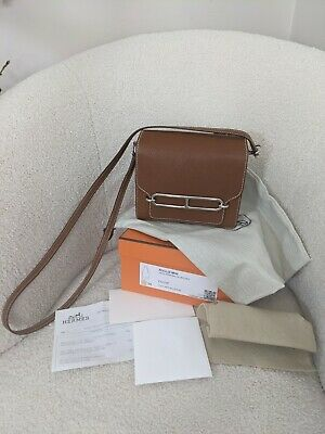 AU13000 • Buy Authentic Hermes Mini Roulis Bag Barenia Faubourg Palladium Hardware Full Set