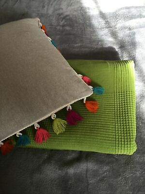 Ikea 100 Percent Cotton Large  Green Throw , Plus Feather  Complete Cushion • 29£
