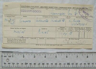 £1.50 • Buy 1941 Southern Railway Delivery Sheet Cosham Goods To Leamington Spa
