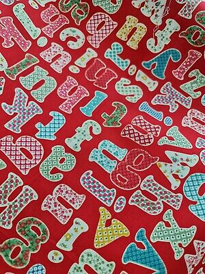 £10 • Buy Vintage Fabric Alphabet Letters On Red 45  Wide Patching Quilting Etc
