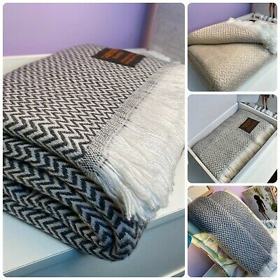 Authentic Pure Cashmere Throws Blankets Beautifully Soft Warm Hand Woven  • 89.99£
