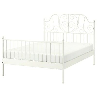 USED Ikea LEIRVIK White Metal Double Bed Frame WITH Or WITHOUT Mattress • 30£
