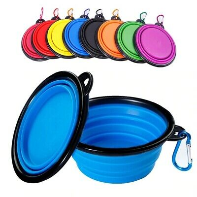 Cat Dog Bowl Food Water Feeding Silicone Collapsible Portable Foldable Travel  • 2.99£