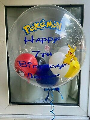 Pokemon Helium Filled Personalised Gumball Bubble Balloon *Delivered In A Box* • 25.99£