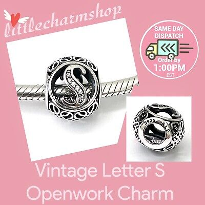 AU44.10 • Buy New Authentic Genuine PANDORA Vintage Letter S Openwork Charm - 791863CZ RETIRED