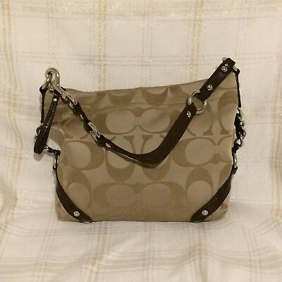 $ CDN81.03 • Buy Coach F15250 Carly Light Khaki Brown Sateen Purse Tote Satchel